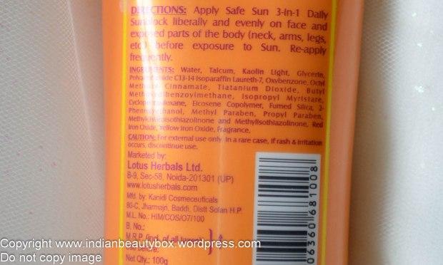 Lotus Herbals 3 in 1 Matte Sunblock Cream SPF 40 - Ingredients